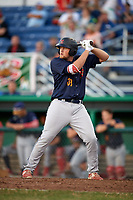 State College Spikes designated hitter Walker Robbins (39) at bat during a game against the Batavia Muckdogs on July 7, 2018 at Dwyer Stadium in Batavia, New York.  State College defeated Batavia 7-4.  (Mike Janes/Four Seam Images)