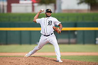 Mesa Solar Sox relief pitcher Sandy Baez (62), of the Detroit Tigers organization, delivers a pitch during an Arizona Fall League game against the Peoria Javelinas at Sloan Park on October 11, 2018 in Mesa, Arizona. Mesa defeated Peoria 10-9. (Zachary Lucy/Four Seam Images)