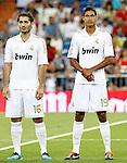 Real Madrid's Raphael Varane (r) and Hamit Altintop during Santiago Bernabeu Trophy.August 24,2011. (ALTERPHOTOS/Acero)