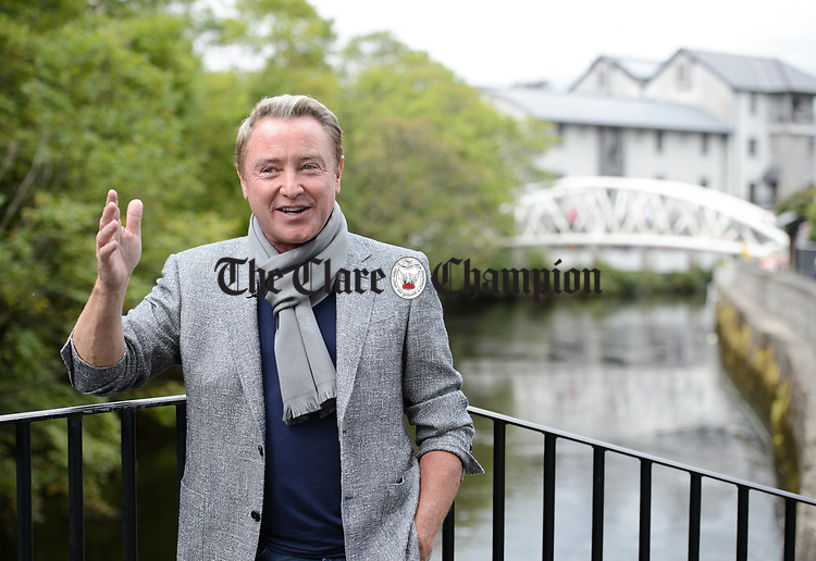 Michael Flatley pictured during a TV interview following the official opening of the All-Ireland Fleadh 2017 in Ennis. Photograph by John Kelly.