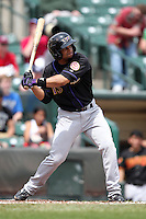 Louisville Bats outfielder Michael Griffin #15 at bat during a game against the Rochester Red Wings at Frontier Field on May 12, 2011 in Rochester, New York.  Louisville defeated Rochester 5-2.  Photo By Mike Janes/Four Seam Images