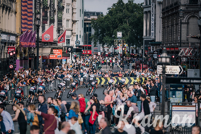 peloton through central London<br /> <br /> Stage 8: London to London (77km)<br /> 15th Ovo Energy Tour of Britain 2018