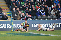 20130309 Copyright onEdition 2013©.Free for editorial use image, please credit: onEdition..Tom Williams of Harlequins scores a try during the LV= Cup semi final match between Harlequins and Bath Rugby at The Twickenham Stoop on Saturday 9th March 2013 (Photo by Rob Munro)..For press contacts contact: Sam Feasey at brandRapport on M: +44 (0)7717 757114 E: SFeasey@brand-rapport.com..If you require a higher resolution image or you have any other onEdition photographic enquiries, please contact onEdition on 0845 900 2 900 or email info@onEdition.com.This image is copyright onEdition 2013©..This image has been supplied by onEdition and must be credited onEdition. The author is asserting his full Moral rights in relation to the publication of this image. Rights for onward transmission of any image or file is not granted or implied. Changing or deleting Copyright information is illegal as specified in the Copyright, Design and Patents Act 1988. If you are in any way unsure of your right to publish this image please contact onEdition on 0845 900 2 900 or email info@onEdition.com