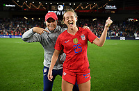 Saint Paul, MN - SEPTEMBER 03: Jill Ellis and Kristen Hamilton #25 of the United States celebrate during their 2019 Victory Tour match versus Portugal at Allianz Field, on September 03, 2019 in Saint Paul, Minnesota.