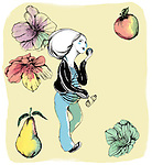 Illustration of pregnant woman eating healthy food