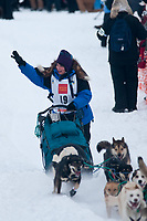 Cindy Gallea team leaves the start line during the restart day of Iditarod 2009 in Willow, Alaska