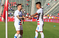 CARSON, CA - FEBRUARY 1: Paul Arriola #7 and Ulysses Llanez Jr #19 of the United States celebrate an Ulysses PK goal during a game between Costa Rica and USMNT at Dignity Health Sports Park on February 1, 2020 in Carson, California.