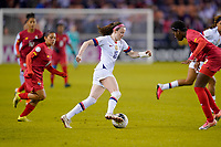 HOUSTON, TX - JANUARY 31: Rose Lavelle #16 of the United States turns with the ball during a game between Panama and USWNT at BBVA Stadium on January 31, 2020 in Houston, Texas.
