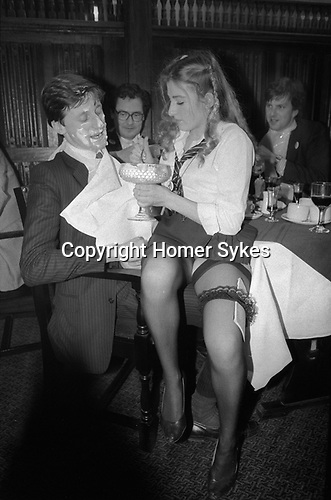 School Dinners, lunch time private members club in the City of London. Members got fed typical public, ie private school dinners by scantily clad  St Trinian's, style waitresses.1980s