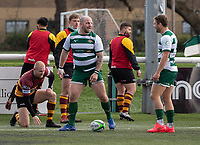 Lewis Thiede of Ealing Trailfinders celebrates his try during the Greene King IPA Championship match between Ealing Trailfinders and Ampthill RUFC being played behind closed doors due to the COVID-19 pandemic restrictions at Castle Bar , West Ealing , England  on 13 March 2021. Photo by Alan Stanford / PRiME Media Images