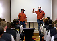 LOS ANGELES, CA - SEPTEMBER 11: Honorary Captains Jimmy Klein and Adam Keefe speak to the team at the hotel before a game between University of Southern California and Stanford Football at Los Angeles Memorial Coliseum on September 11, 2021 in Los Angeles, California.