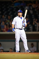 Mesa Solar Sox designated hitter Kyle Schwarber (66), of the Chicago Cubs, at bat in the bottom of the eighth inning during a game against the Salt River Rafters on October 22, 2016 at Sloan Park in Mesa, Arizona.  It was the first game action for Schwarber who was injured April 7th and underwent surgery to repair two ligament tears in his left knee.  Salt River defeated Mesa 7-2.  (Mike Janes/Four Seam Images)