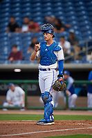 Dunedin Blue Jays catcher Riley Adams (21) during a Florida State League game against the Clearwater Threshers on April 4, 2019 at Spectrum Field in Clearwater, Florida.  Dunedin defeated Clearwater 11-1.  (Mike Janes/Four Seam Images)