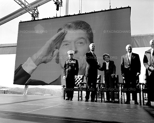 Simi Valley, California<br /> February 6, 2011<br /> <br /> A frail Nancy Reagan joins prominent Republicans on stage for a celebration of Ronald Reagan's 100th birthday at the Reagan Library in Simi Valley, California.