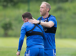 St Johnstone Training….29.06.19   McDiarmid Park, Perth<br />Steven Anderson gives Danny Swanson a pat on the back at the end of the training runs<br />Picture by Graeme Hart.<br />Copyright Perthshire Picture Agency<br />Tel: 01738 623350  Mobile: 07990 594431