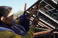 INDIA, Rajasthan, women work in solar workshop of barefoot college Tilonia, founded by Bunker Roy / INDIEN, Rajasthan, Tilonia, Frauen arbeiten im Solarworkshop des Tilonia barefoot College, Reparatur von Solarmodulen und Solar Equipment
