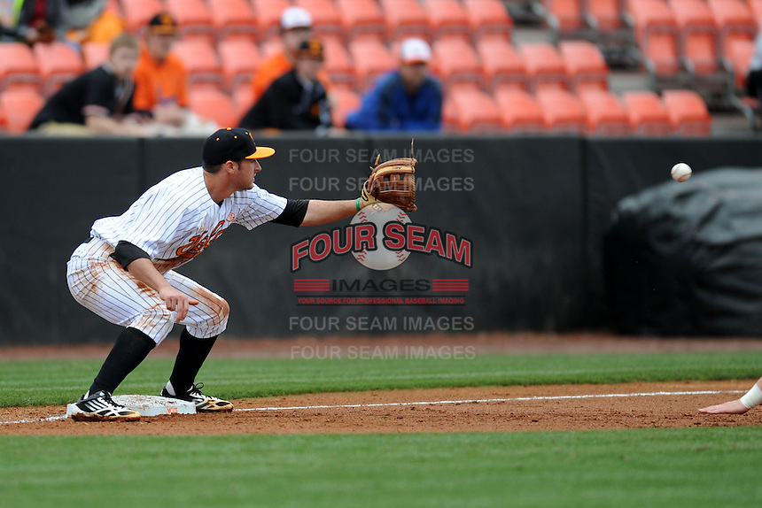Tennessee Volunteers third baseman Will Maddox #1 awaits a throw during a game against  the Arizona State Sun Devils at Lindsey Nelson Stadium on February 23, 2013 in Knoxville, Tennessee. The Volunteers won 11-2.(Tony Farlow/Four Seam Images).