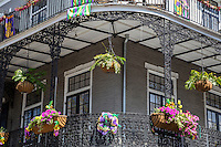 French Quarter, New Orleans, Louisiana.  Flower Boxes on Cast-iron Balcony Railings.