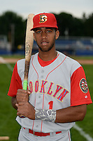 Brooklyn Cyclones shortstop Amed Rosario (1) poses for a photo before a game against the Batavia Muckdogs on August 11, 2014 at Dwyer Stadium in Batavia, New York.  Batavia defeated Brooklyn 4-3.  (Mike Janes/Four Seam Images)