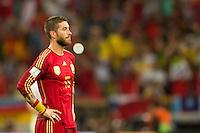 Sergio Ramos of Spain looks dejected
