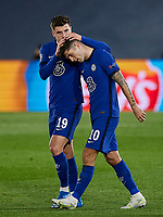 April 27th 2021; Alfredo Di Stefano Stadium, Madrid, Spain;  UEFA Champions League. Christian Pulisic and Mason Mount of Chelsea FC celebrate scoring their 1st goal in the 13th minute for 0-1 during the Champions League match, semifinals between Real Madrid and Chelsea FC played at Alfredo Di Stefano Stadium
