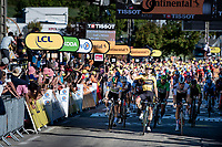 Wout van Aert (BEL/Jumbo - Visma) wins the bunch sprint into Privas against the fastest names in the peloton...<br /> putting everybody in his shadow...<br /> <br /> Stage 5 from Gap to Privas (183km)<br /> <br /> 107th Tour de France 2020 (2.UWT)<br /> (the 'postponed edition' held in september)<br /> <br /> ©kramon