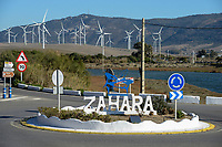 Spain, Andalusia, Cadiz, Zahara de los Atunes, wind farm in the mountains