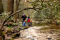 Troop 10 Boy Scouts gather and filter water during a spring backpacking in the South Mountains State Park in Connelly Springs, North Carolina.