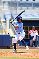FCL Rays Jelfry Marte (76) bats during a game against the FCL Twins on July 20, 2021 at Charlotte Sports Park in Port Charlotte, Florida.  (Mike Janes/Four Seam Images)