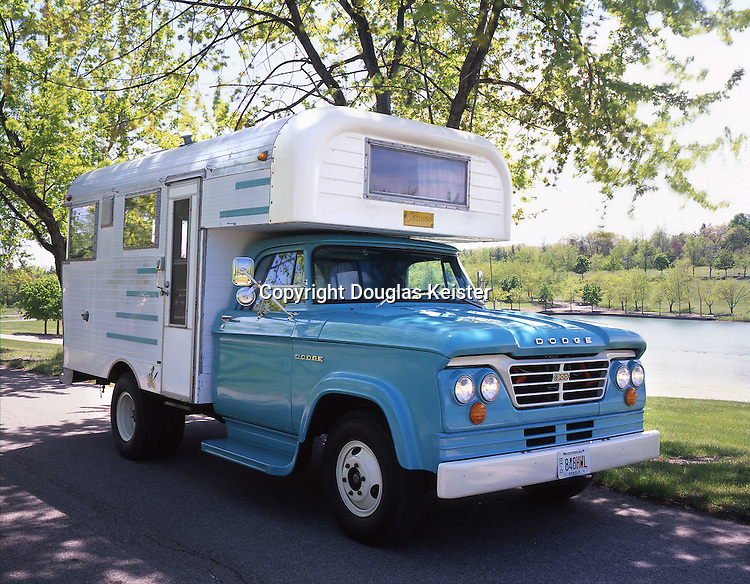 In the early 1960s, the first mass-produced motorhomes started appearing. Some of the early models looked like a cross between a slide-in camper and a motorhome. These Class C motorhomes are constructed on a truck chassis. Fabricators ordered trucks without the traditional bed and added their own creation, a practice that is still done today. This rare 1963 Chinook is mounted on a Dodge chassis and is powered by a 318-cubic-inch engine. Owned by Walt Barnes. Photographed in Camp Dearborn, Michigan.