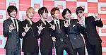 Supernova, Choshinsung, Aug 30, 2013 : Tokyo, Japan :Korean boy band Supernova (L-R, Kwangsu, Sungmo, Jihyuk, Yunhak, Geonil and Sungje) attend a press conference for new promotion video of Lotte Duty Free shop in Tokyo, Japan, on August 30, 2013.