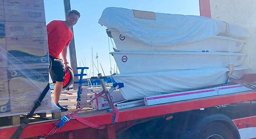 Kenny Rumball of MarineServices.ie unloads more RS Aeros for the Irish fleet