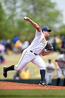 Montgomery Biscuits pitcher Jake Thompson (36) delivers a pitch during a game against the Mississippi Braves on April 22, 2014 at Riverwalk Stadium in Montgomery, Alabama.  Mississippi defeated Montgomery 6-2.  (Mike Janes/Four Seam Images)