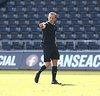 17th April 2021; Liberty Stadium, Swansea, Glamorgan, Wales; English Football League Championship Football, Swansea City versus Wycombe Wanderers; Referee Keith Stroud awards Swansea City a penalty in the 78th minute after a handball in the box