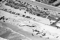 Aerial shot of a  full size replica of NASA's Space Shuttle sculpted from the sands of Daytona Beach, FL in 1989.  (Photo by Brian Cleary/www.bcpix.com)