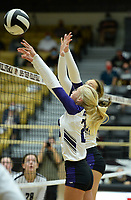 Fayetteville's Brooke Rockwell (left) reaches Tuesday, Sept. 15, 2020, to block a shot during play against Bentonville in Tiger Arena in Bentonville. Visit nwaonline.com/200916Daily/ for today's photo gallery. <br /> (NWA Democrat-Gazette/Andy Shupe)