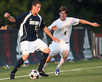 04 September 2009: Josh Thiermann #17 of the University of Notre Dame moves the ball away from Justin Lichtfuss #4 of Wake Forest University during an Adidas Soccer Classic match at the University of Indiana in Bloomington, In. The game ended in a 1-1 tie..