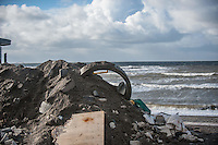 Aberystwyth, Wales, UK. Tuesday 09 February 2016<br />Pictured: A pile of debris by the promenade.<br />Re: The clean up begins in Aberystwyth, west Wales after storm Imogen hit parts of the UK.