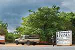 A Park Ranger on duty at the entrance to Kasanka National Park, Zambia.