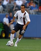 Landon Donovan holds the ball.  USA (0) vs Morocco (1), May 23, 2006, at The Coliseum in Nashville, Tenn.