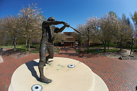 A bronze statue of a baseball player is on display outside of Hayes Stadium prior to the NCAA baseball game between the Florida Atlantic Owls and the Charlotte 49ers on April 2, 2021 in Charlotte, North Carolina. The 49ers defeated the Owls 9-5. (Brian Westerholt/Four Seam Images)