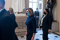 Speaker of the United States House of Representatives Nancy Pelosi (Democrat of California) walks to the House chamber during a vote on H. Res. 24, Impeaching Donald John Trump, President of the United States, for high crimes and misdemeanors, at the U.S. Capitol in Washington, DC, Wednesday, January 13, 2021. Credit: Rod Lamkey / CNP /MediaPunch