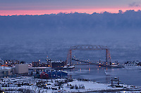 """Aerial Lift Bridge with Steam Devils""<br />