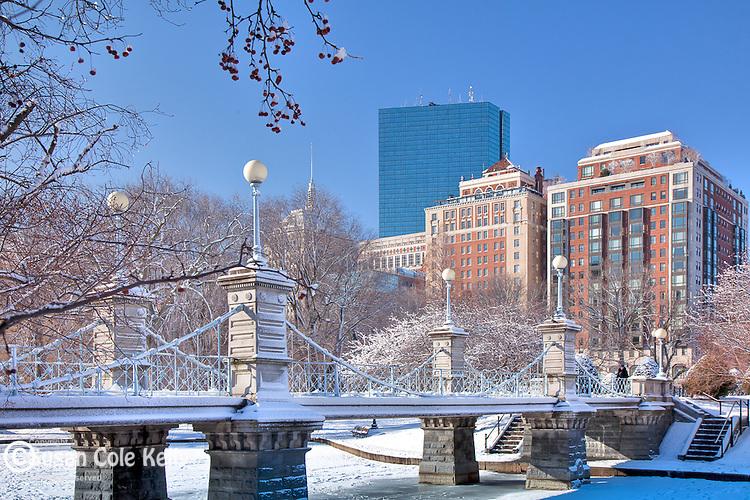 The Back Bay skyline and the Victorian Bridge in the Boston Public Garden, Boston, MA, USA