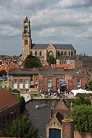 Belgique, Flandre-Occidentale, Bruges, centre historique classé Patrimoine Mondial de l'UNESCO, vue sur les canaux et la Cathédrale Saint-Sauveur, Sint Salvatorskathedraal // Belgium, Western Flanders, Bruges, historical centre listed as World Heritage by UNESCO, view channels and Saint-Sauveur Cathedral, Sint Salvatorskathedraal