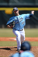 Maine Black Bears pitcher Scott Heath (29) delivers a pitch during a game against the South Dakota State JackRabbits at South County Regional Park on March 9, 2014 in Port Charlotte, Florida.  Maine defeated South Dakota 5-4.  (Mike Janes/Four Seam Images)