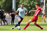 Ylyes Ziani (24) of Union and Bastien Focant (15) of Tempo battle for the ball during a preseason friendly soccer game between Tempo Overijse and Royale Union Saint-Gilloise, Saturday 29th of June 2021 in Overijse, Belgium. Photo: SPORTPIX.BE   SEVIL OKTEM