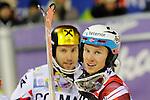 Henrik Kristoffersen, Marcel HIRSCHER compete during the FIS Alpine Ski World Cup Men's Slalom in Madonna di Campiglio, on December 22, 2015. Norway's Henrik Kristoffersen wins ahead of Marcel Hirscher and Marco Schwarz.