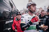 It didn't take Irish Champion Ryan Mullen (IRL/Trek-Segafredo) long (distance between finish & teambus) to reward himself with some belgian 'frietjes' for a team effort well done.<br /> <br /> 102nd Ronde van Vlaanderen 2018 (1.UWT)<br /> Antwerpen - Oudenaarde (BEL): 265km
