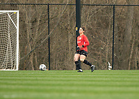 LOUISVILLE, KY - MARCH 13: Michelle Betos #1 of Racing Louisville FC passes the ball during a game between West Virginia University and Racing Louisville FC at Thurman Hutchins Park on March 13, 2021 in Louisville, Kentucky.